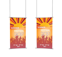 orange fabric banner long